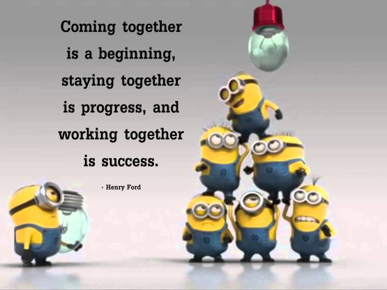 coming together teamwork minions