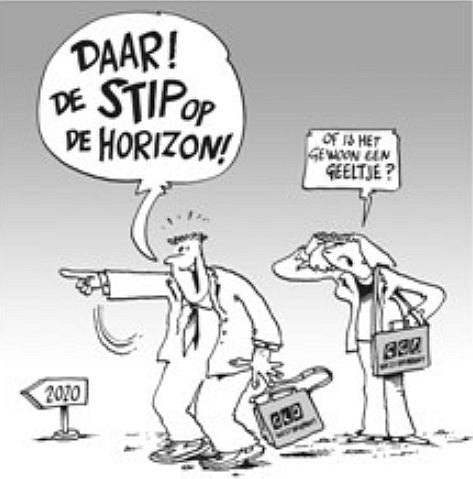 stip op de horizon cartoon